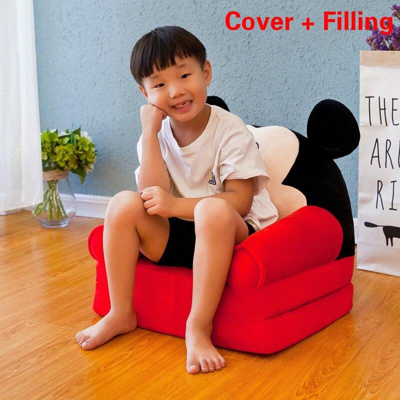 מפורק שטף ילדים ספה אופנה ילדי ספה מתקפל קריקטורה חמוד תינוק מיני ספת גן תינוק מושב ספה עם מילוי