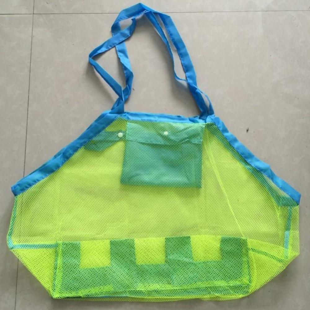 Kids Beach Bag Foldable Mesh Swimming Bag Beach Toy Baskets Storage Bag