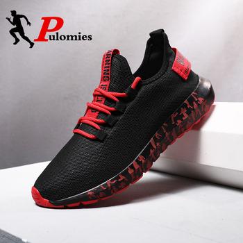 Nowi mężczyźni trampki mężczyźni obuwie oddychające siatkowe trampki mężczyźni obuwie sportowe buty do biegania buty do chodzenia męskie buty 39 trampki tanie i dobre opinie PULOMIES Mesh (air mesh) Przypadkowi buty RUBBER Lace-up Pasuje prawda na wymiar weź swój normalny rozmiar Podstawowe