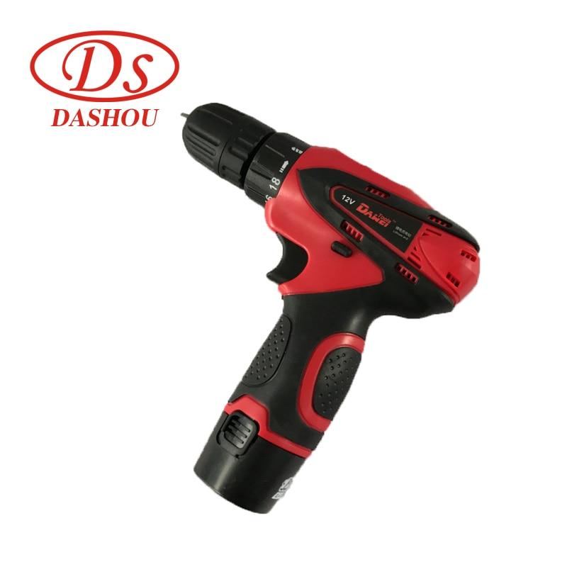 DS аккумуляторная Бытовая многофункциональная ручная дрель Беспроводная электрическая шуруповерт перезаряжаемая Пистолетная дрель