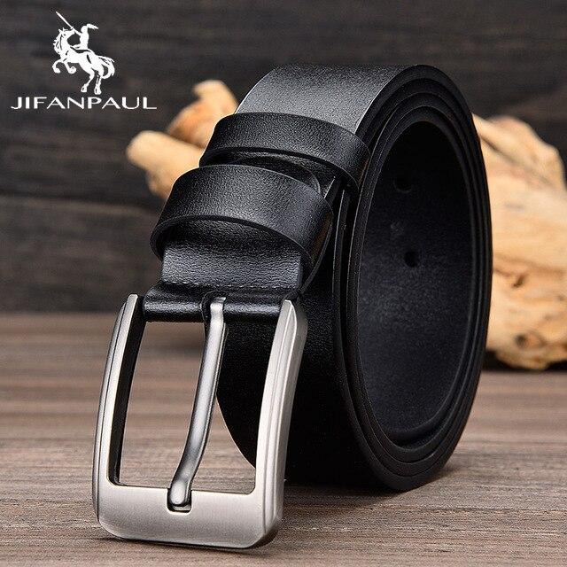 JIFANPAUL бренд подлинный мужской модный кожаный ремень сплав Материал Пряжка Бизнес Ретро Мужские джинсы дикие ремни высокого качества - Цвет: JF02 3.8CM Black