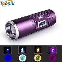 Tooniu 30W 강력한 LED 휴대용 낚시 조명 4 색 USB 충전 서치 zoomable 하이킹 토치 램프 전원 디스플레이
