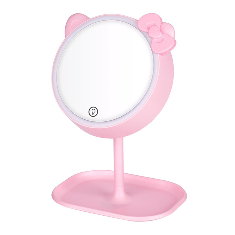 Pink Cat Makeup Mirror With Led Mirrors Standing Mirror Touch Screen Vanity Mirror Adjustable Light Desk Cosmetic Mirrors