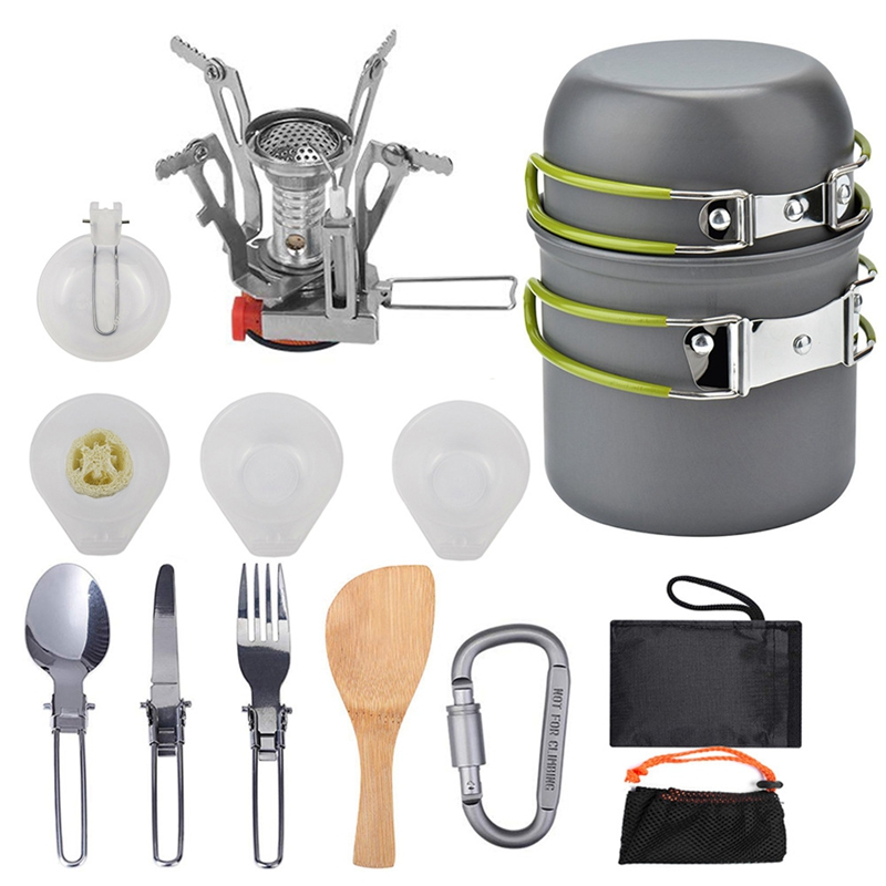 Outdoor Picnic Tableware Camping Pot Trekking Pot Pieces / Set Camping Stove Of Teapot Cooking Tools Camping Tableware Frying Pa