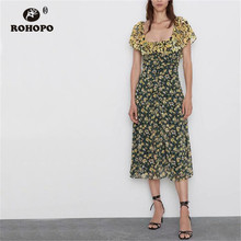 ROHOPO Double Layers Butterfly Sleeve Draped Yellow Floral Black Midi Dress Chiffon Woman Holiday Dresses #8963