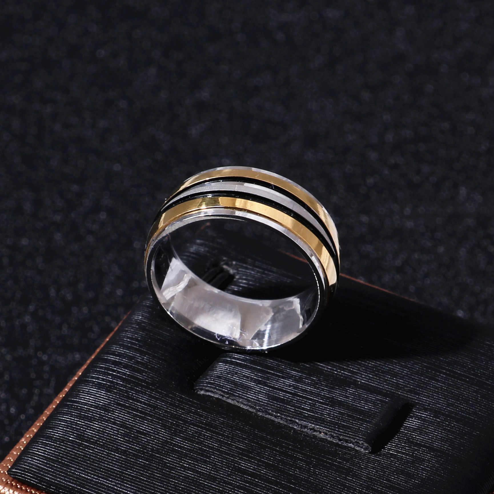 פאנק רוק סגנון זהב כסף טבעת Mens אופנה שמנמן אצבע בלינג היפ הופ טבעת גודל 7/8/9/10/11/12 רטרו טיטניום פלדת טבעות