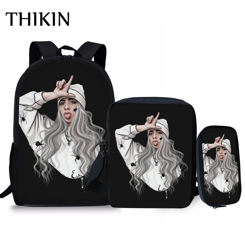 THIKIN Singer Rapper Hiphop Billie Eilish 3 Pcs/Set Backpacks School Bags For Teenagers Girls Student Laptop Bag Pencil Case