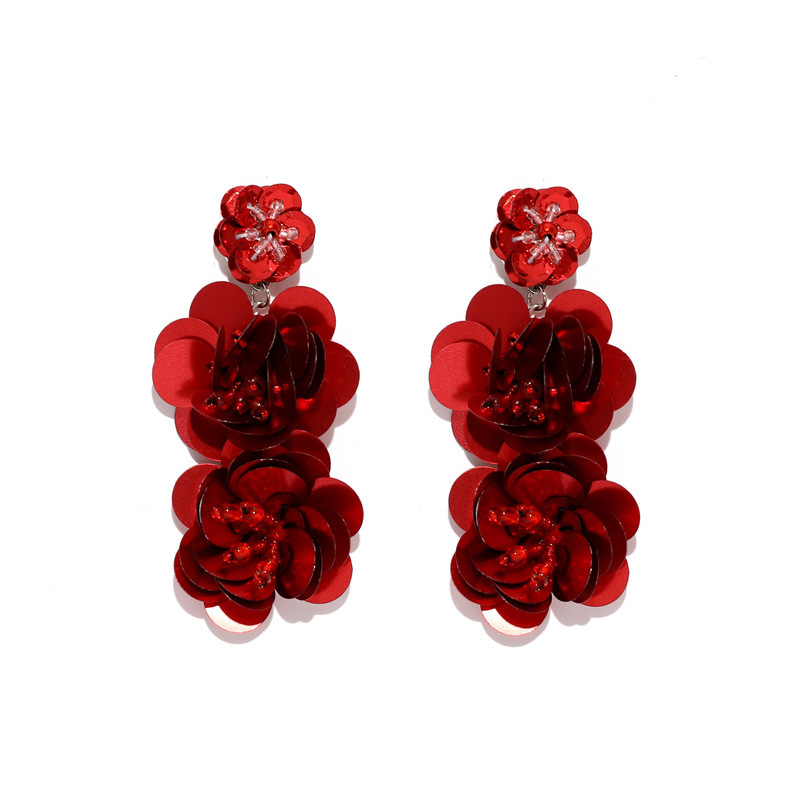 2019 Pendientes Real Earings For Women Fashion Jewelry Exaggerated Flower Sequins Earrings Long Bohemian Boucle Doreille Earring