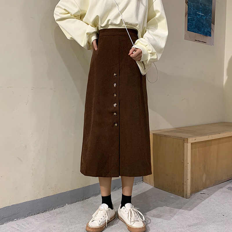 2019 Autumn Clothing New Style Korean-style High-waisted Semi-Elastic Single-Breasted A- Line Thin Corduroy Skirt Mid-length Ski