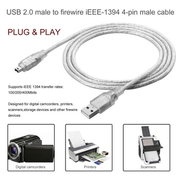 1.2m USB 2.0 To IEEE-1394 Cable Adapter USB Male To Firewire IEEE 1394 4 Pin Male ILink Cable Male To Male Cable Flexible Cable