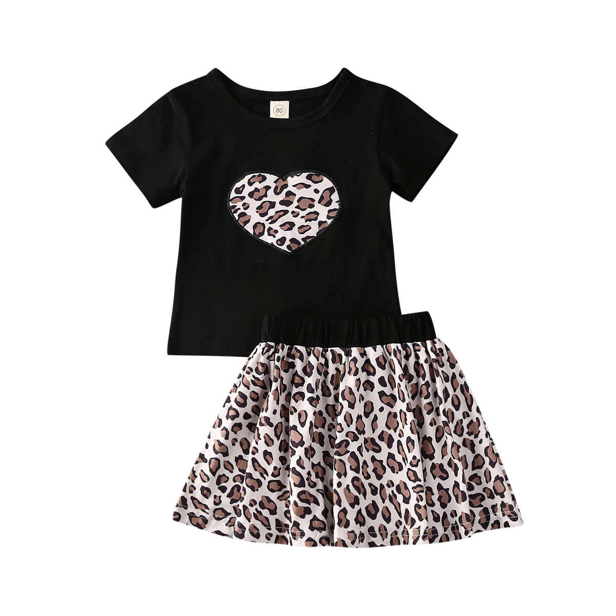 Toddlers Girls Outfits Set T-Shirt A Line Mini Skirt Summer Short Sleeve Tops Clothing Set