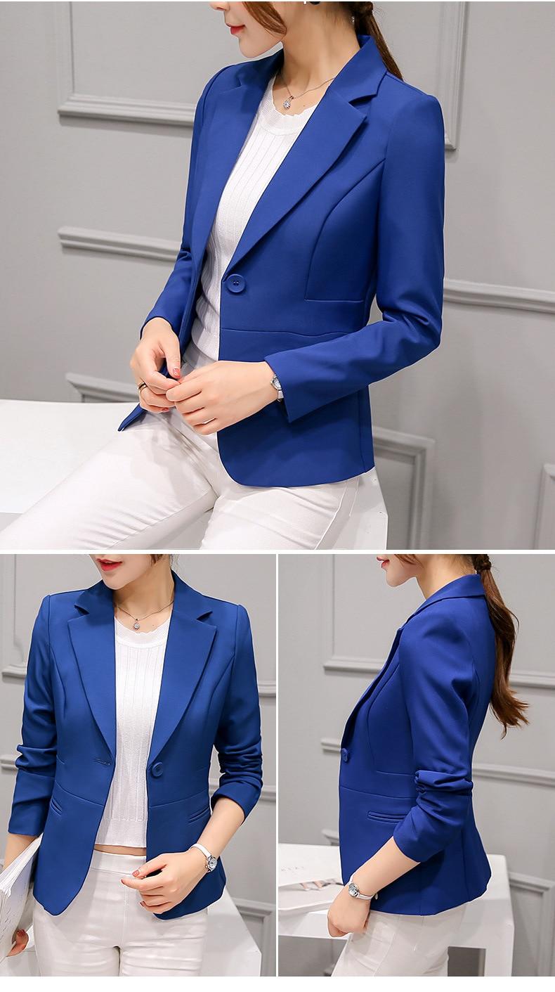 Black Women Blazer Formal Blazers Lady Office Work Suit Pockets Jackets Coat Slim Black Women Blazer Femme Jackets 27