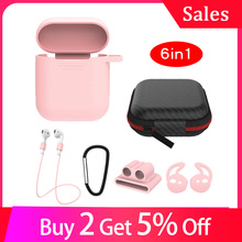 Mini 6 pcs In 1 Sets for Airpods Case Protective Cover Cute Kits Ring Strap Hook Winder Holder Box Set Earpods Silicone Cover