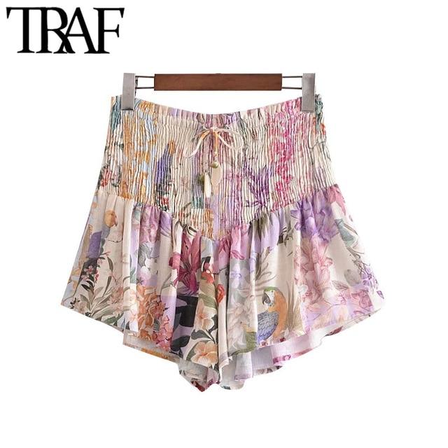 TRAF Women Chic Fashion Floral Print Smocked Shorts Vintage High Elastic Waist With Drawstring Female Short Pants Mujer 1