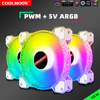Coolmoon 12CM RGB Fan 5V 3Pin ARGB Chassis Heatsink Quiet Fan AURA SYNC 4Pin PWM Control for PC Case Water Cooler CPU Radiator