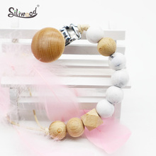 1pc Silicone Pacifier Clips Baby Accessories Wooden Bead Dummy Holder Baby Teat Chain BPA Free  Newborn Soft Childens Goods