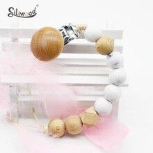 Attache sucette en Silicone, 1 pièce, accessoires pour bébés, perles en bois, porte faux tétine chaîne sans BPA, produits souples pour nouveau nés