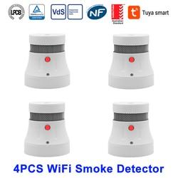 CPVan 4/6 Uds. Detector de humo WiFi, alarma de fuego, Tuya APP Smart Life APP, Control TUV, certificado CE, Sensor de humo, protección de alarma contra incendios