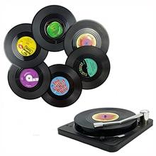 6/4pcs Retro Record Coasters With Holder Anti-slip Vinyl Disk Coasters Creative Koffie Mok Cup Onderzetters Hittebestendig Pads