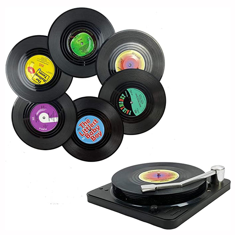 7 pçs retro record coasters com suporte anti-deslizamento disco de vinil coasters criativo koffie mok copo onderzetters hittebestendig almofadas