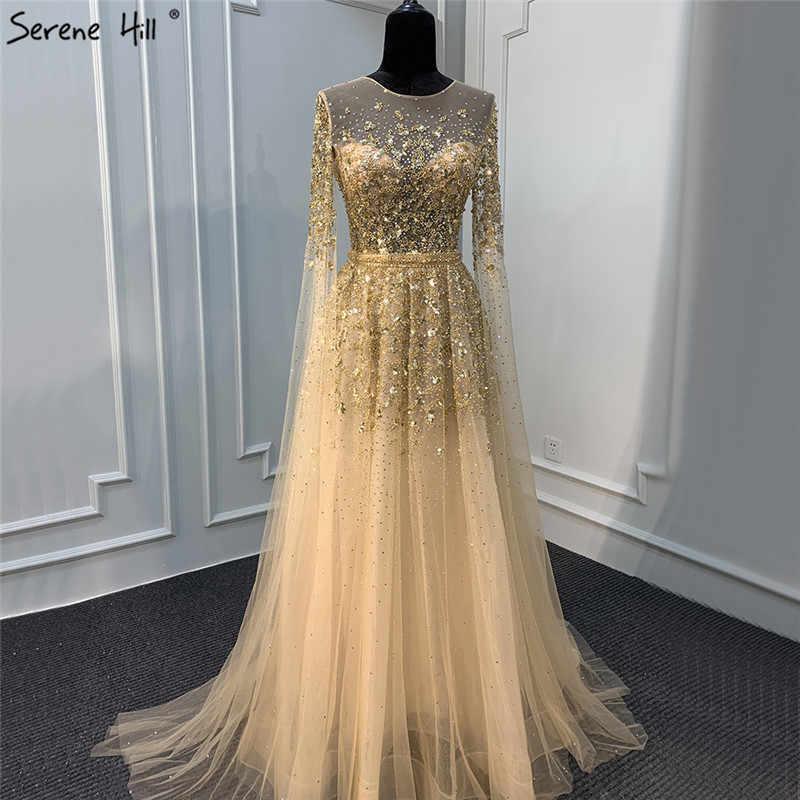 Dubai Emas O-Leher Seksi Gaun Malam 2020 Payet Kristal dengan Cap Lengan Gaun Formal Tenang Hill LA70454