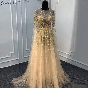 Image 2 - דובאי זהב יוקרה O צוואר סקסי ערב שמלות 2020 פאייטים קריסטל עם כובע שרוולים פורמליות שמלת Serene היל LA70454