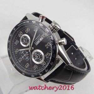 Image 5 - 44mm Corgeut siyah kadran üst marka lüks paslanmaz çelik kasa deri kayış tarih otomatik hareketi erkek saati