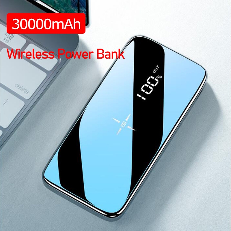 Power Bank 30000mAh Wireless External Portable Powerbank Full Screen Mirror Fast Charging Multi Port Waterproof For All Phone