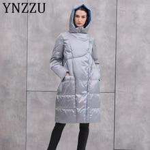 YNZZU Brand Luxury 2019 Winter Women's Down Jacket Long Hooded 90% White Duck