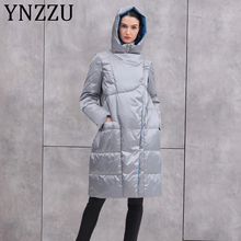 YNZZU Brand Luxury 2019 Winter Women's Down Jacket Long Hood