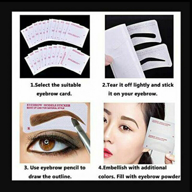 12/24 Pairs Disposable Eyebrow Stencil Grooming Shaper Template Makeup Tools Stickers  Card Women Fashion Makeup Tools 3