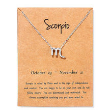 Vintage Scorpio Aries Virgo Message Card Jewelry 12 Constellation Pendant Necklace Silver Necklaces For Women Birthday Gift