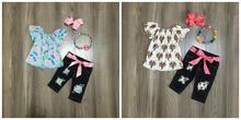 Recém chegados verão bebê meninas calças de brim capris crianças roupas boutique leite seda azul floral vaca topo acessórios do jogo babados