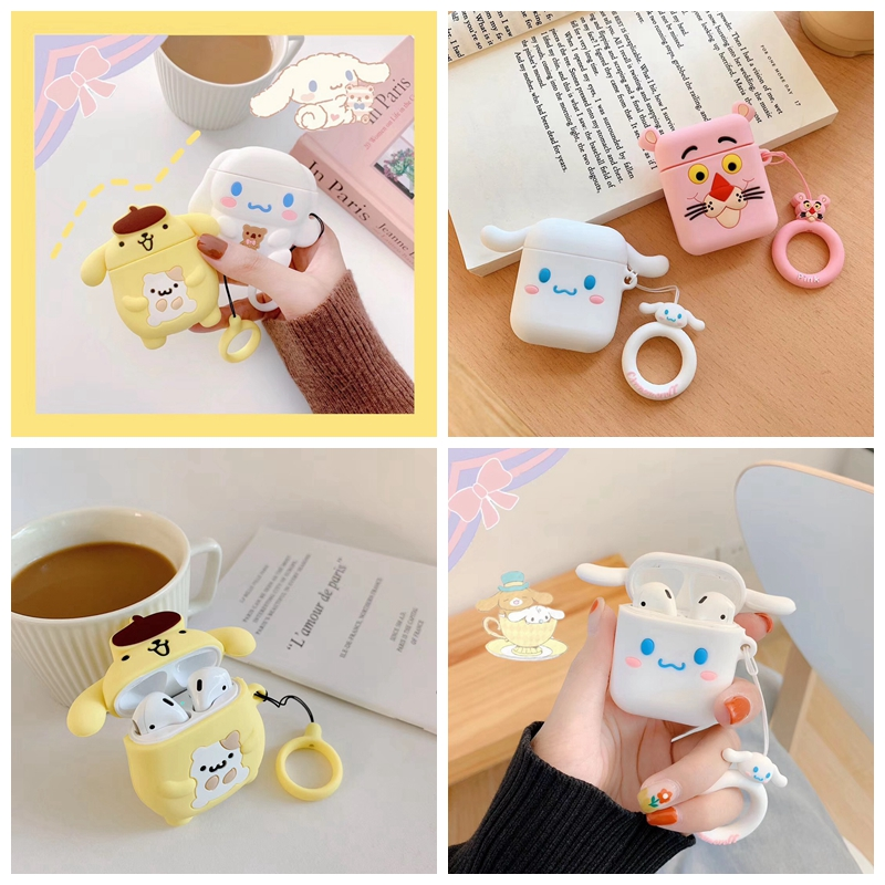 For AirPods Case 3D Cute Kawaii Pink Cartoon Earphone Cases For Airpods 2/i10/i11 TWS Protect Cover With Finger Ring Strap