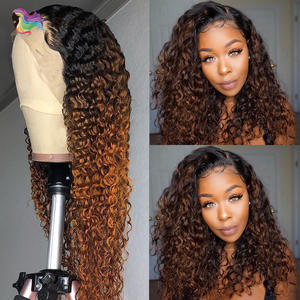 Wigs Human-Hair Knots Curly Brown Lace-Front Pre-Plucked Color Bleached Ombre Women Brazilian