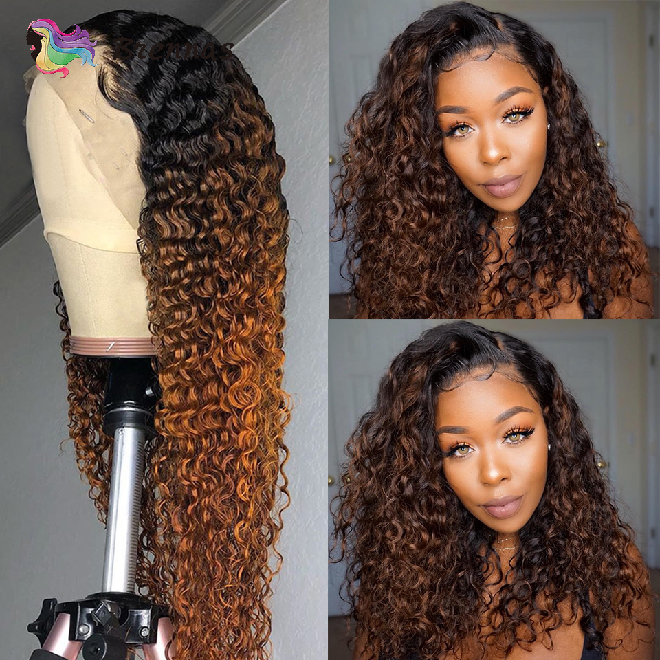 Ombre Curly lace front human hair wigs for women 1B30 brown color 13x6 lace wig Brazilian Remy hair bleached knots Pre Plucked(China)