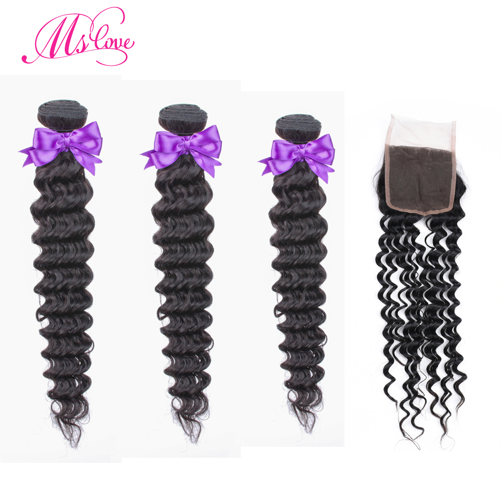 Deep Wave 3 Bundles With Closure Peruvian Hair Bundles With Lace Closure Human Hair Bundles With Closure Ms Love Non Remy in 3 4 Bundles with Closure from Hair Extensions Wigs