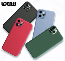 LOERSS Silicone Solid Color Case for iPhone XS 11 Pro MAX XR X XS Max Candy Phone Cases for iPhone 11 7 6 6S 8 Plus Soft Cover custom name phone cover for iphone 6 6s 7 8 plus x xs max xr liquid silicone phone cases for 11 pro max candy shockproof cover