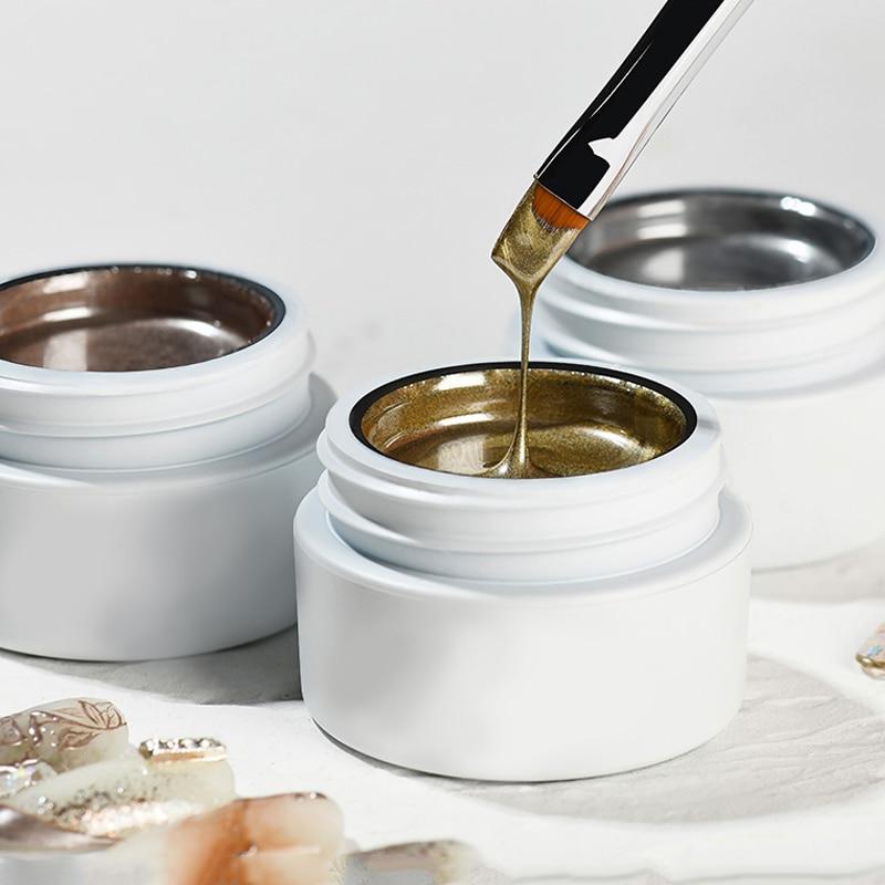 5g High Thick Gold Rose Silver Mirror Metallic Creat 3D Draw Led Nail Art Beauty Salon Supplies Paint Lacquer Glue UV Gel Polish
