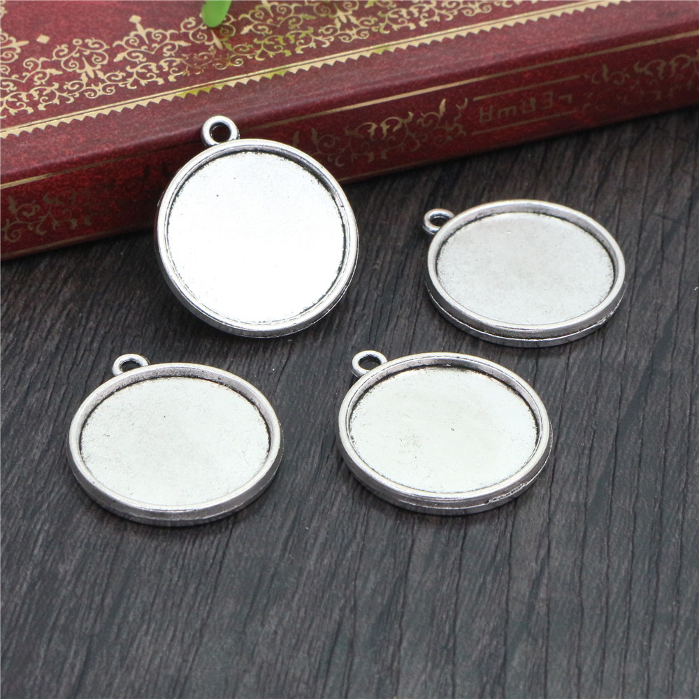10pcs 20mm Inner Size Antique Silver Plated Classic Style Double Side Cabochon Base Setting Charms Pendant (D2-32)