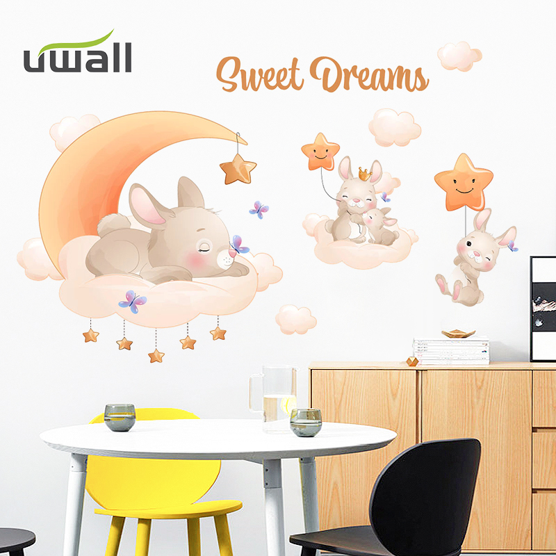 Creative Cartoon Cute Rabbit Animal Wall Stickers For Kids Rooms Home Decor Self Adhesive Stickers Baby Bedroom Wall Decoration