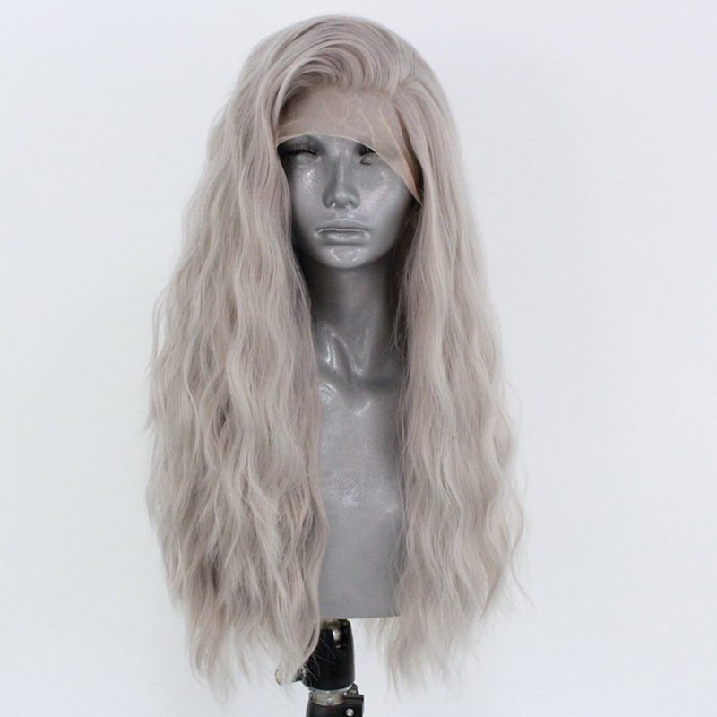 RONGDUOYI Water Wave High Temperature Fiber Hair Synthetic Lace Front Wigs for Women Long Light Gray Wavy 13x3 Lace Cosplay Wig