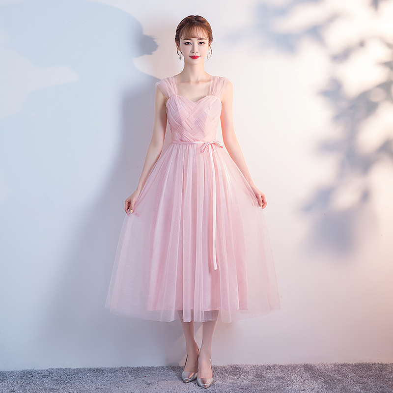 Pink Bridesmaid Dresses Wedding Guest Dress Elegant Plus Size Tulleillusion Sleeveless Tea-Length Sexy Prom Sister Party Dress
