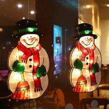 Natal conduziu a luz papai noel led ventosa janela pendurado luzes de natal atmosfera decorativa cena decoração festiva