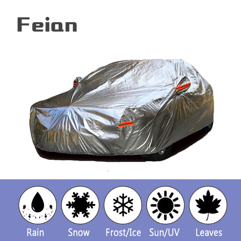 Universal Aluminium Waterproof car covers super sun UV protection dust Rain car cover full auto suv Hatchback Sedan protective
