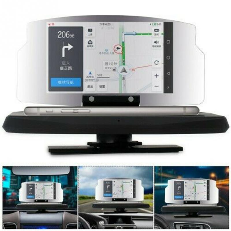 HUD Head-Up Display Car-styling Hud Display Overspeed Warning Smart GPS Navigation Driving Projector HD Phone Holder