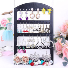 48 Holes Jewelry Organizer Stand Black Plastic Earring Holder Pesentoir Fashion Earrings Display Showing Rack Etagere(China)