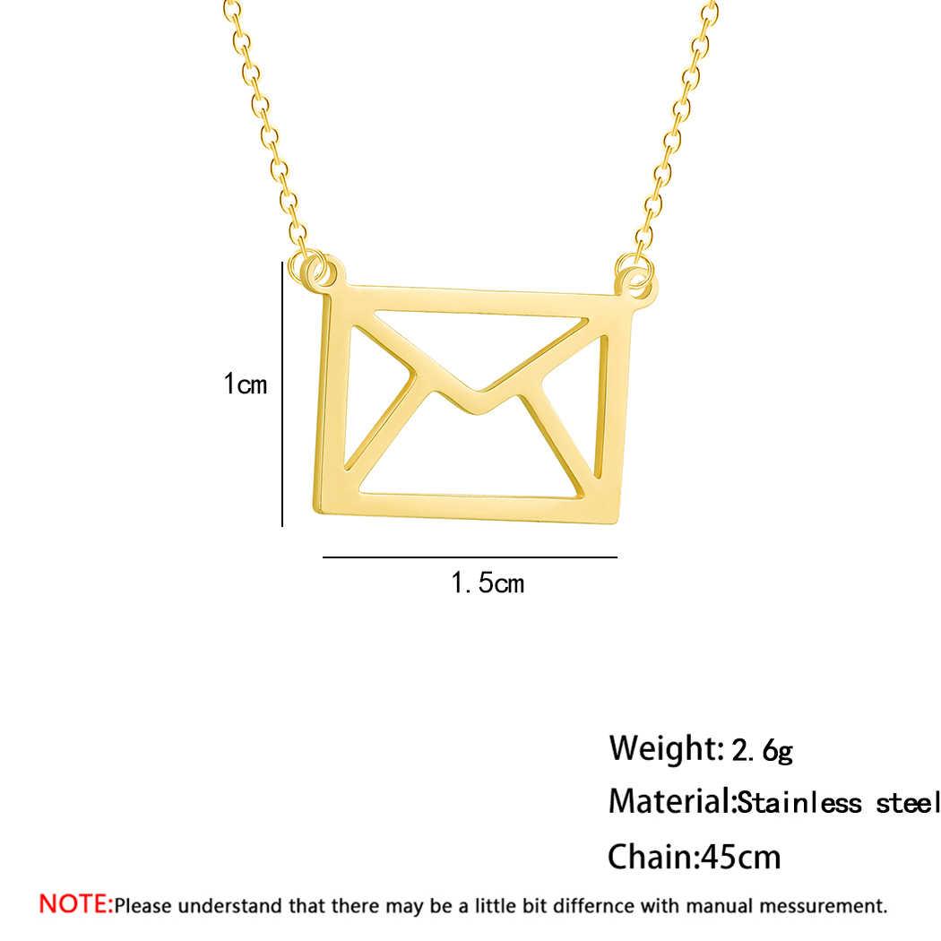 QIMING Dainty Envelope Necklace Women Female Everyday Jewelry Graduation Anniversary Minimal Pendant Necklace Birthday Gift