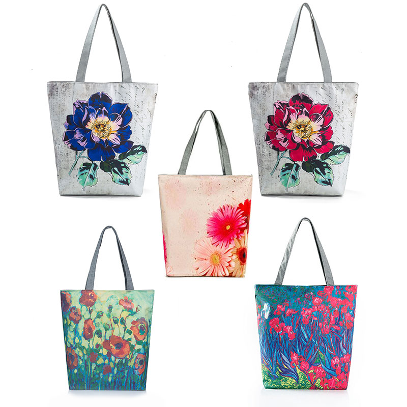 Female Tote Handbag Daily Use Eco Shopping Bag Print Shoulder Bags Cheap Women Shoulder Bag Women Chinese Traditional Fish