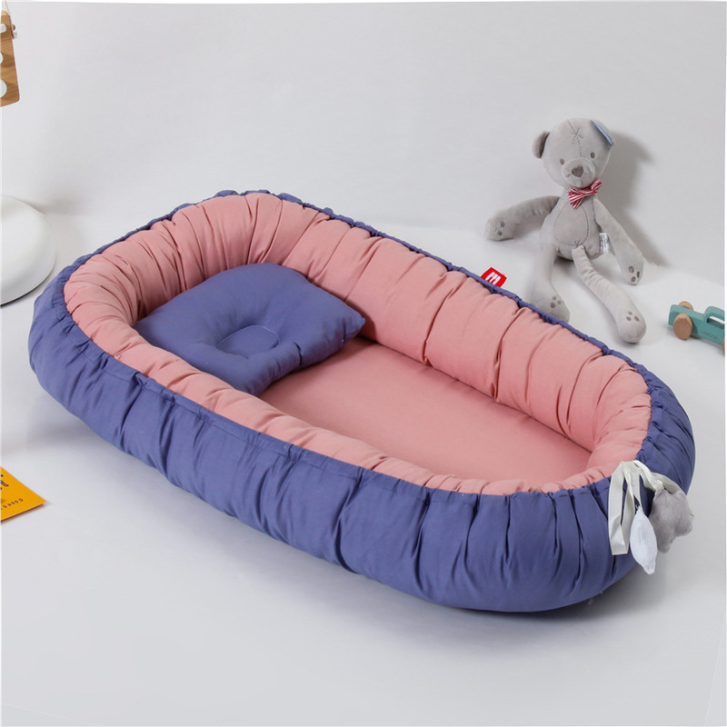 Baby Nest Bed Portable Crib Travel Bed Solid Cotton Soft Newborn Baby Crib Comfortable Infant Bedding 80x50cm YHM059